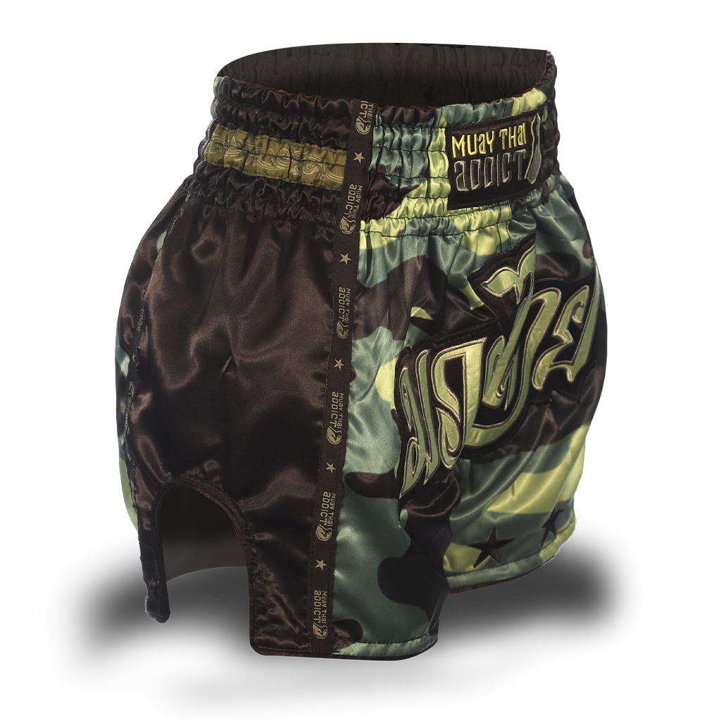 Green Camo Single Panel Stars Muay Thai Shorts