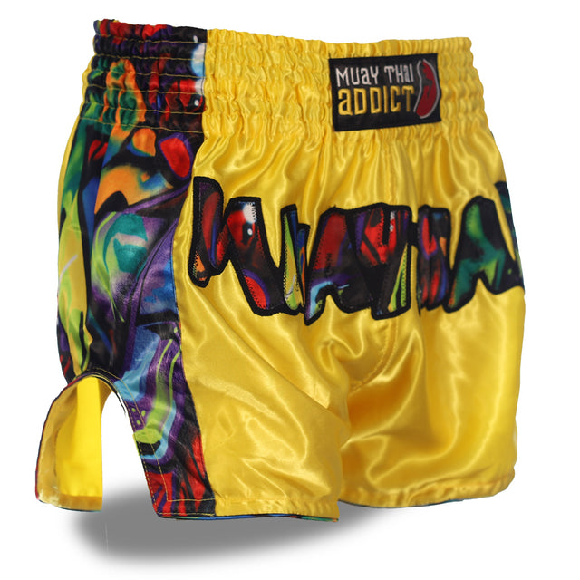 Yellow Muay Thai Graffiti Shorts