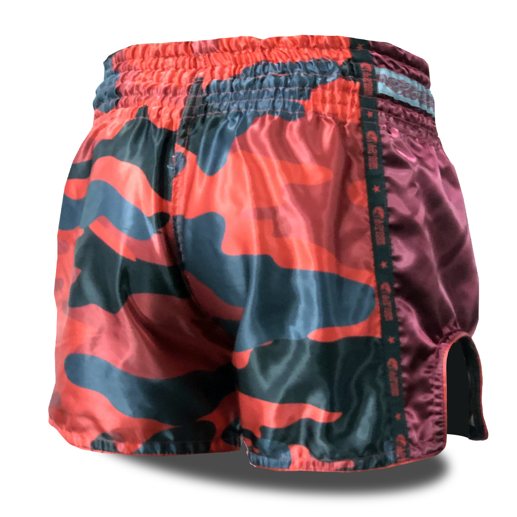 Red Camo Single Panel Stars Muay Thai Shorts