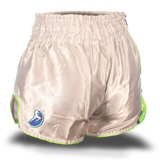 White and Neon Green Single Panel Stars Muay Thai Shorts