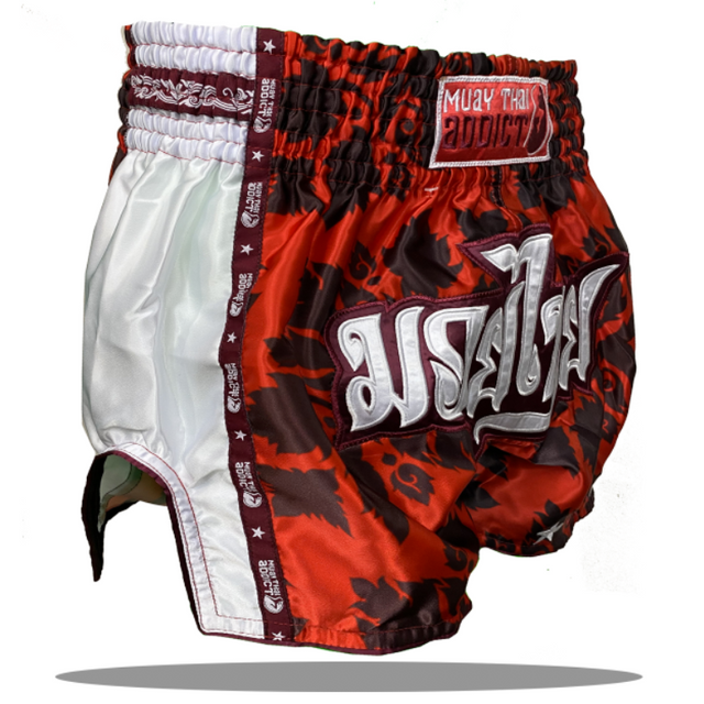 Royal Red Floral Single Panel Muay Thai Shorts