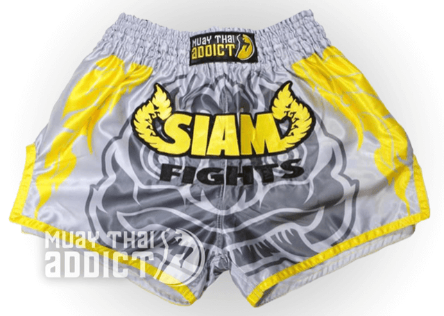 Siam Fight Official Muay Thai Shorts (Grey/Yellow)