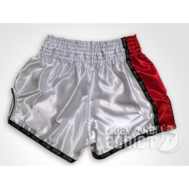 Sleek Pearl White and Red Retro Shorts