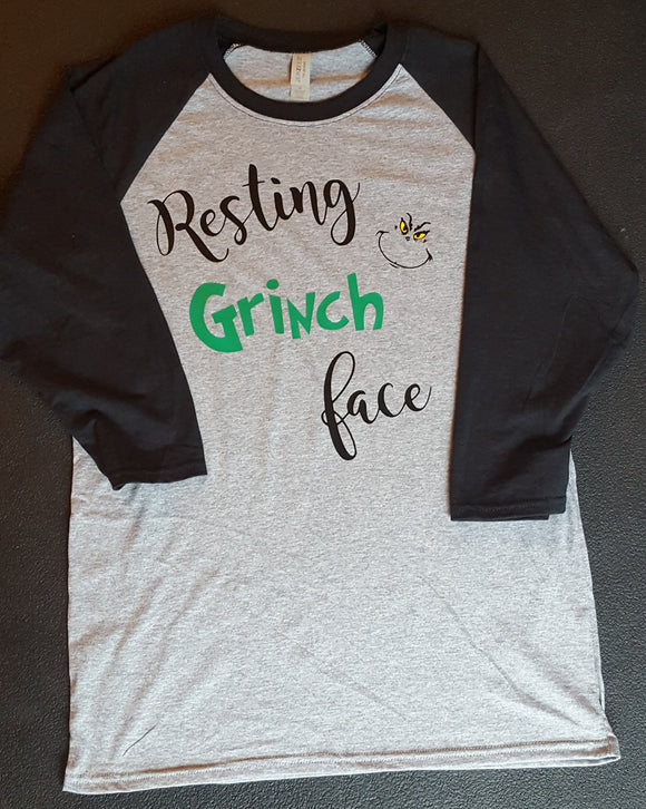 Resting Grinch Face Raglan T Shirt