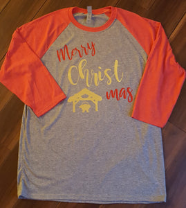 Merry CHRIST mas  Raglan T Shirt