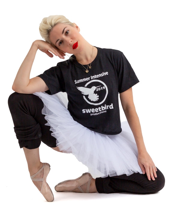 2019 Sweetbird Summer Intensive T Shirt (White Glitter)
