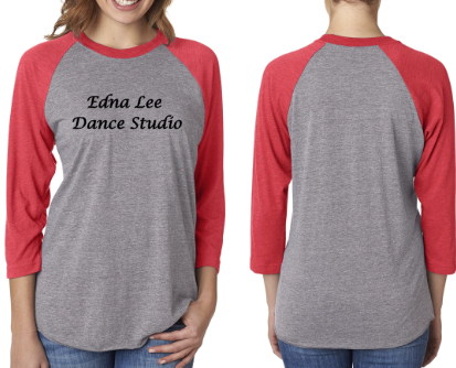 ELDS Raglan T Shirt - 3/4 Sleeve - Soft Blend - Heather and Red