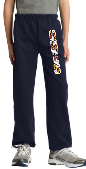 OHES Black Sweat Pants with Maryland Flag Pattern - Youth