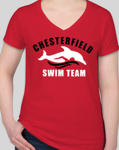 Chesterfield Swim Team Shirts - Ladies V Neck (Cotton / Performance)