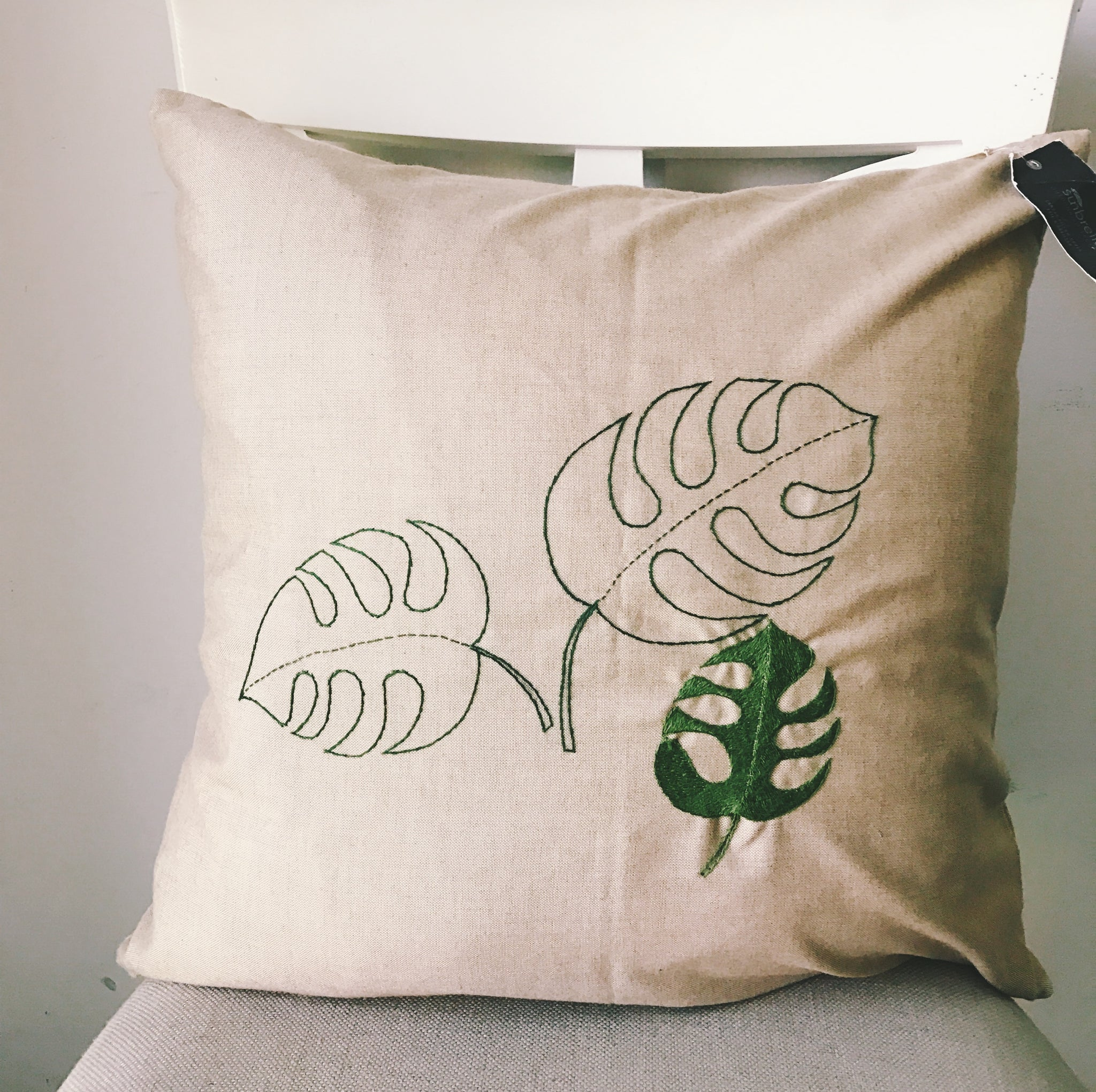 Astounding Monstera Leaf Palm Leaf Rh Hand Embroidered Pillow Case Ocoug Best Dining Table And Chair Ideas Images Ocougorg
