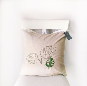 Monstera Leaf, Palm Leaf RH Hand embroidered pillow, 20x20, decorative, embroidered, Throw Pillow Cover, Restoration Hardware In/Outdoor