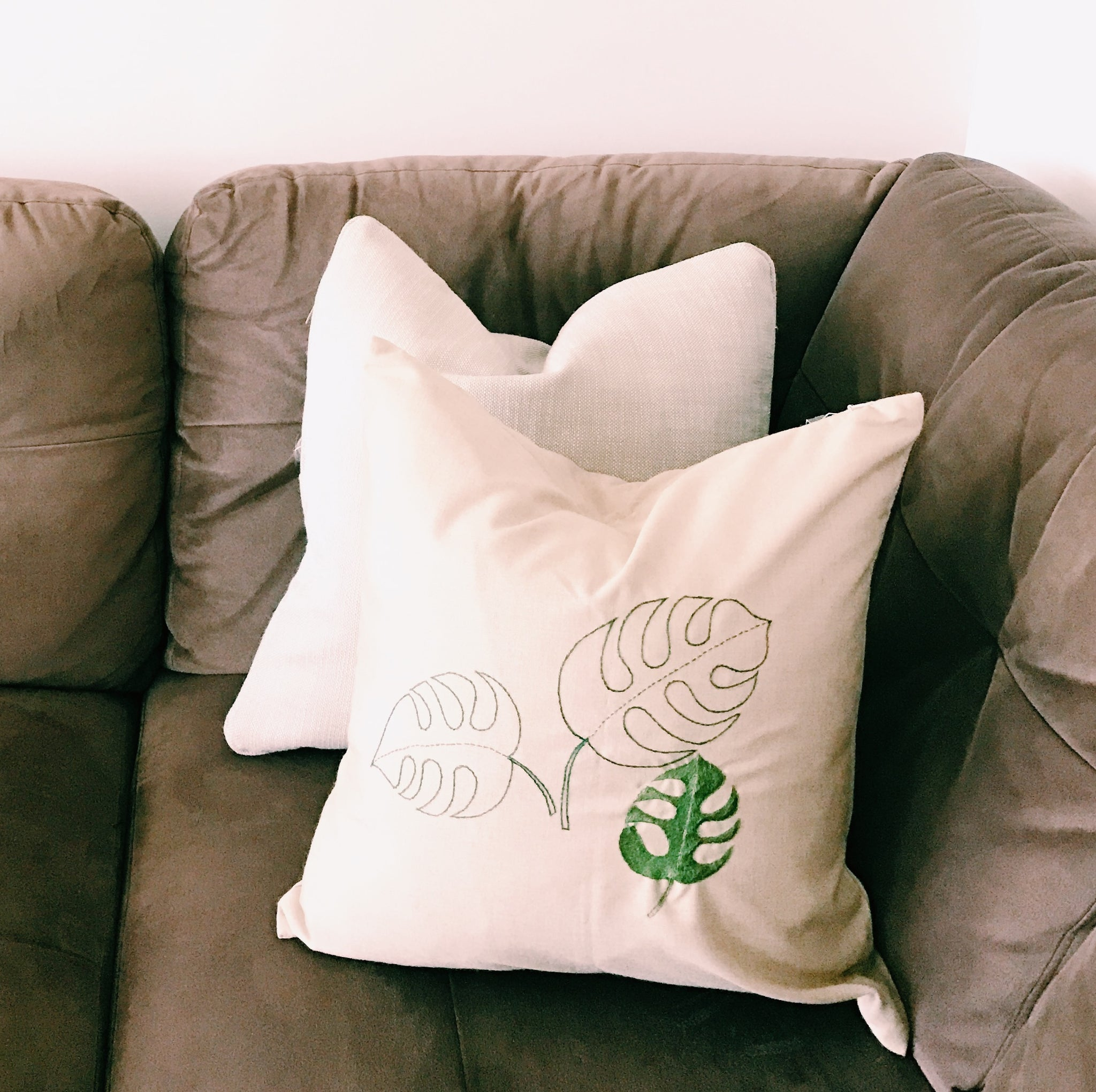 Incredible Monstera Leaf Palm Leaf Rh Hand Embroidered Pillow Case Ocoug Best Dining Table And Chair Ideas Images Ocougorg
