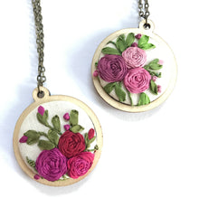 Mini Embroidery Hoop Pendant Necklace.
