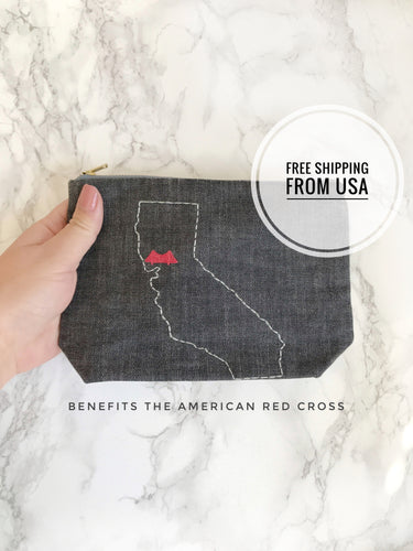 California love zipper bag. California gift. Benefiting #CampFire #WoolseyFire. Golden Gate Bridge. Gift that Gives Back.