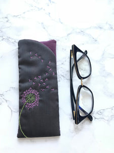 Eyeglass case, Padded Sunglass Case, Purple Dandelion Eye Glass Holder, Soft Glasses Pouch, Accessories, Best Friend Gift, Gift for Her, Sunglasses