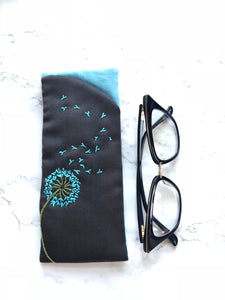 Eyeglass case, Padded Sunglass Case, Dandelion Eye Glass Holder, Soft Glasses Pouch, Accessories, Best Friend Gift, Gift for Her, Sunglasses