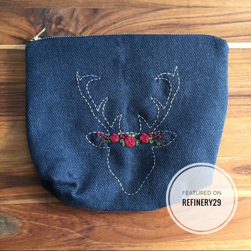 Deer Zipper Bag, Antler Flower Crown, Rustic Glam, Flower crown zip bag, Zipped, Gift that Gives Back, Holiday 2019, Christmas Gift 2019