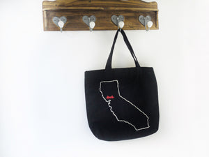 Washable Tote Bag. Golden Gate Bridge, large tote bag, hand embroidered, washable handbag, tote bag, diaper bag, travel bag, school bag