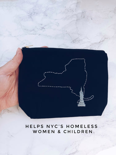 NY, NYC, New York, Empire State Building, makeup bag, Gift that Gives Back, help NYC homeless