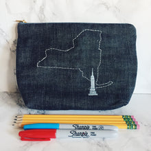 Hand embroidered purse, NYC, New York, Empire State Building, makeup bag, pencil case, clutch, toiletry bag, zip bag, catch all, small bag