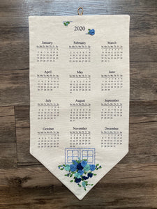 2020 Calendar, 2020 Wall Calendar, Gift that Gives Back, Hand Embroidered