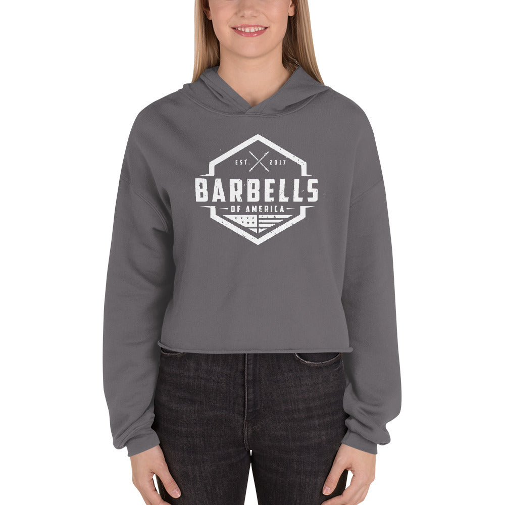 Women's Barbells Of America Original White Edition Crop Hoodie