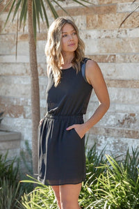 Black Round Neckline Tank Mini Dress