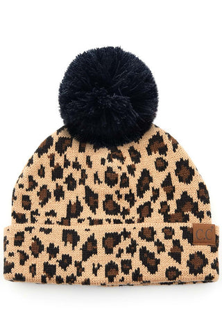 Leopard Beanie Hat with Pom Pom