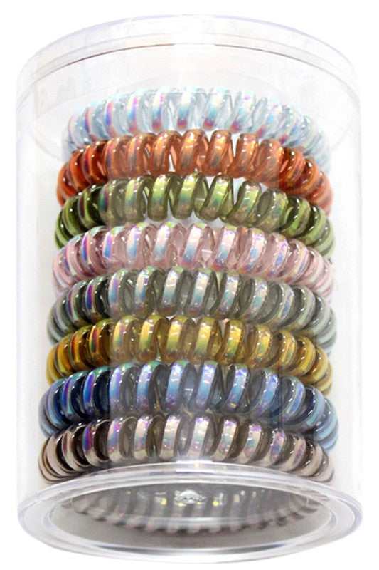 Spiral Hair Ties Metallic Fall