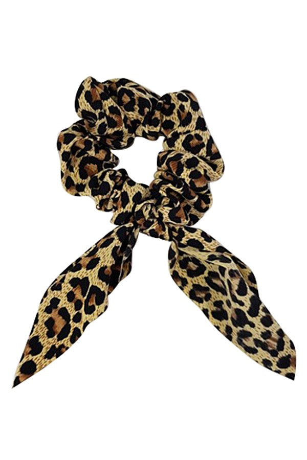 Leopard silk scrunchie w/ oversized bow