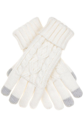 Cable Knit Folded Cuff Gloves with Lining