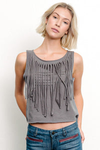 PRE WASHED Recycled Cotton Fringe Graphic T