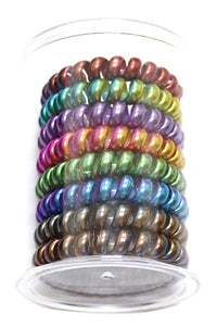 Spiral Hair Ties -  Iridescent Multi-Color