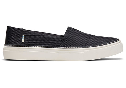 Black Textured Woven Women's Parker Slip-Ons