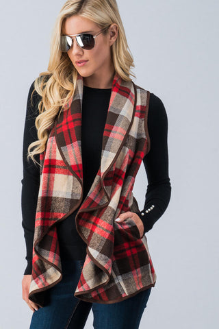 Plaid Waterfall Open Vest