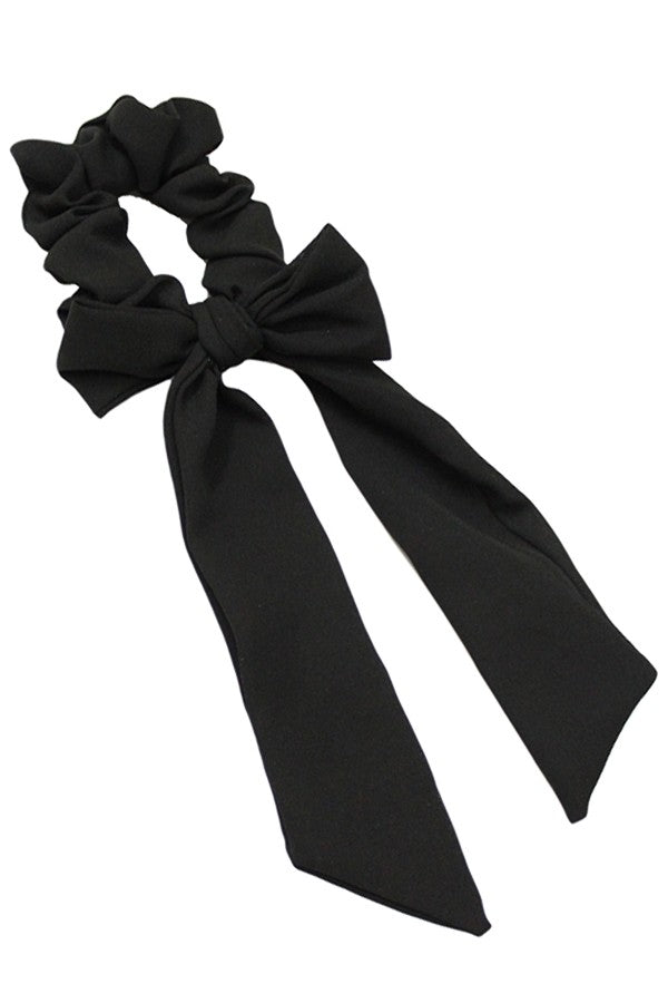 Black Silk Scrunchie w/ Mini Scarf
