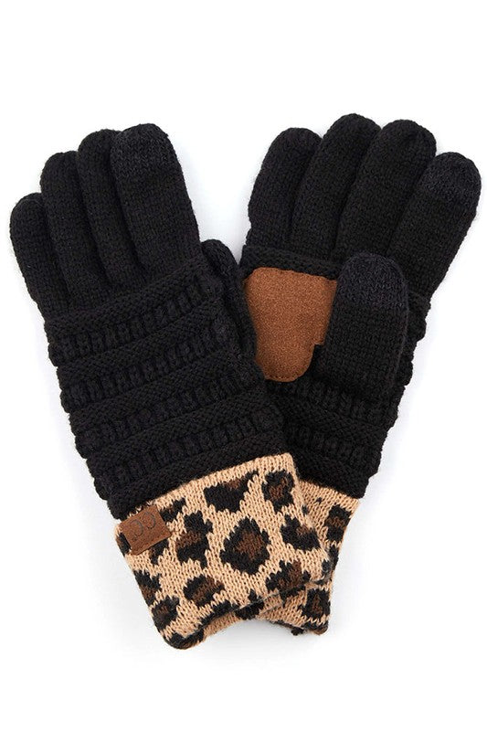 C.C Leopard knit Gloves