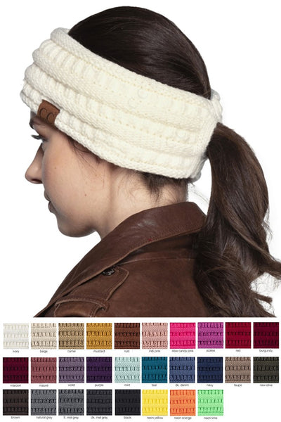 Solid Ribbed Ponytail Headband