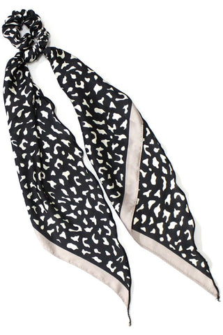 Black Leopard Print Scrunchie with Silk Scarf