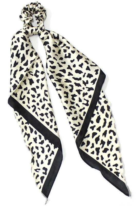 Leopard Print Scrunchie with Silk Scarf - White & Black