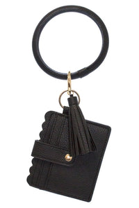 Key Chain Bangle Bracelet with ID Card Holder and Tassel