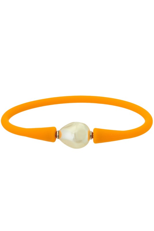 Waterproof Silicone Bracelet With Pearl