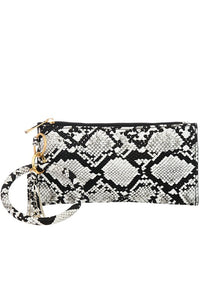 Snake Print Leather Key Chain/Bracelet Clutch