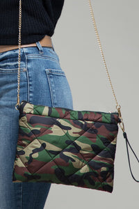 Camo Print Puffer Cross Body Bag