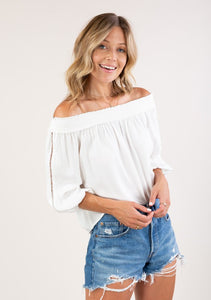 Off Shoulder Lattice Trim Top