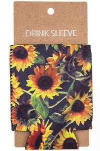 SUNFLOWER AND LEAVES PRINT DRINK SLEEVE.