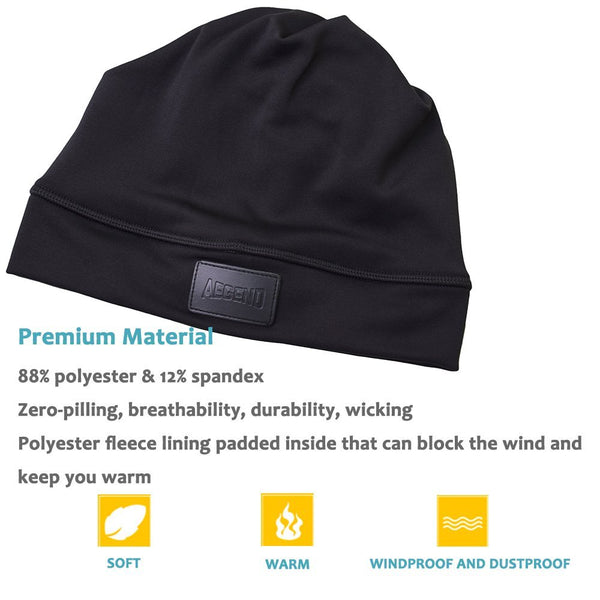 Aegend Beanie Ponytail Hat - Black
