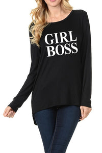 GIRL BOSS Graphic T - Black (Plus Sizes Available)