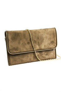 Suede Flap Over Clutch