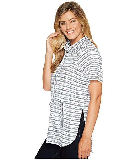 TWO by Vince Camuto Short Sleeve Variegated Stripe Rib Funnel Neck Pullover